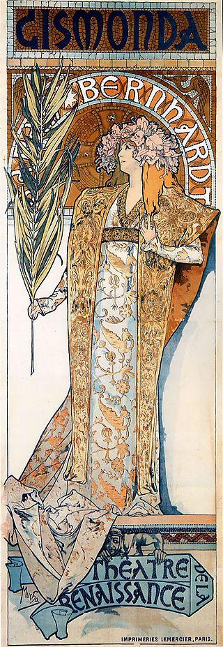 Poster para Gismonda 1894 Este poster fue realizado para promocionar la Obra teatral de cuatro actos de Victorien Sardou , que  fue estrenada en el otoño de 1894 en el Théâtre de la Renaissance en París . Sarah Bernhardt era a la vez su actriz y directora.   Bernardt fue retratada como una noble bizantina exótica con un vestido espléndido y un tocado de orquídeas con una palma en la mano. Este traje era usado en el último acto , el clímax de la obra.