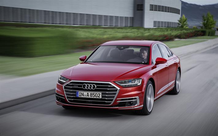 Lataa kuva Audi A8, 4k, 2018 autoja, luksusautojen, punainen a8, saksan autoja, Audi