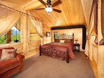 Log Cabin Master Bedroom Rustic Retreats Pinterest Log Cabins Cabin And Log Wall