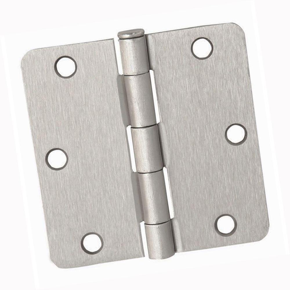Dynasty Hardware 3 1 2 In Door Hinges 1 4 In Radius Corner Satin Nickel 24 Pack Door Hinges Corner Door Spring Door Hinge