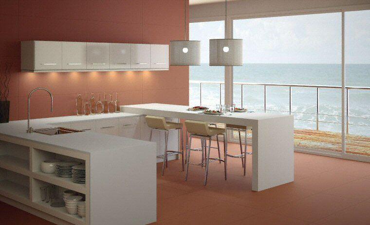 Cuisine - Plan de travail en îlot de cuisine moderne, clair, en