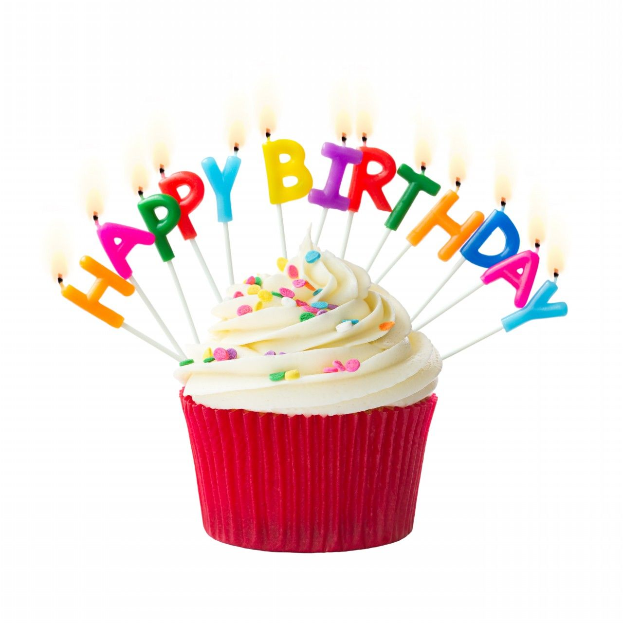 happy birthday – cupcakes with candles, cute images • elsoar