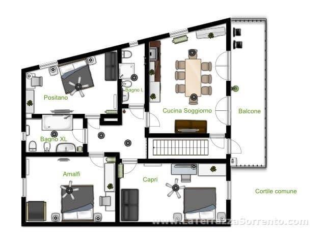 Interni di Casa Vacanze La Terrazza a Sorrento. Tre camere ...