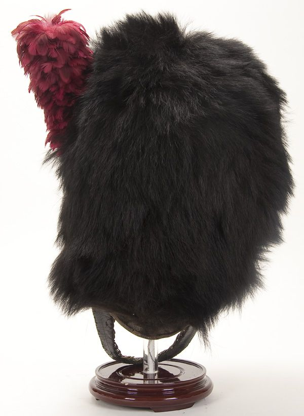 BLACK BEARSKIN HAT FROM A BRITISH LT  COLONEL'S COLDSTREAM GUARDS