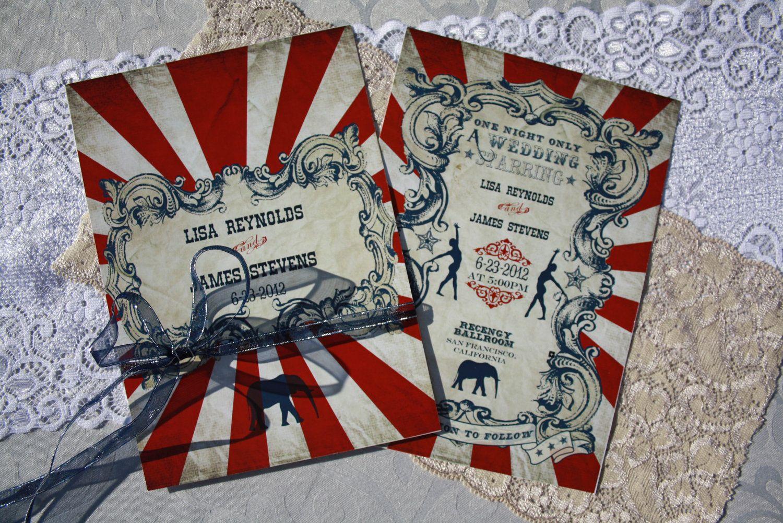 Vintage Carnival Wedding Invitation (Gorgeous Circus Invite ...
