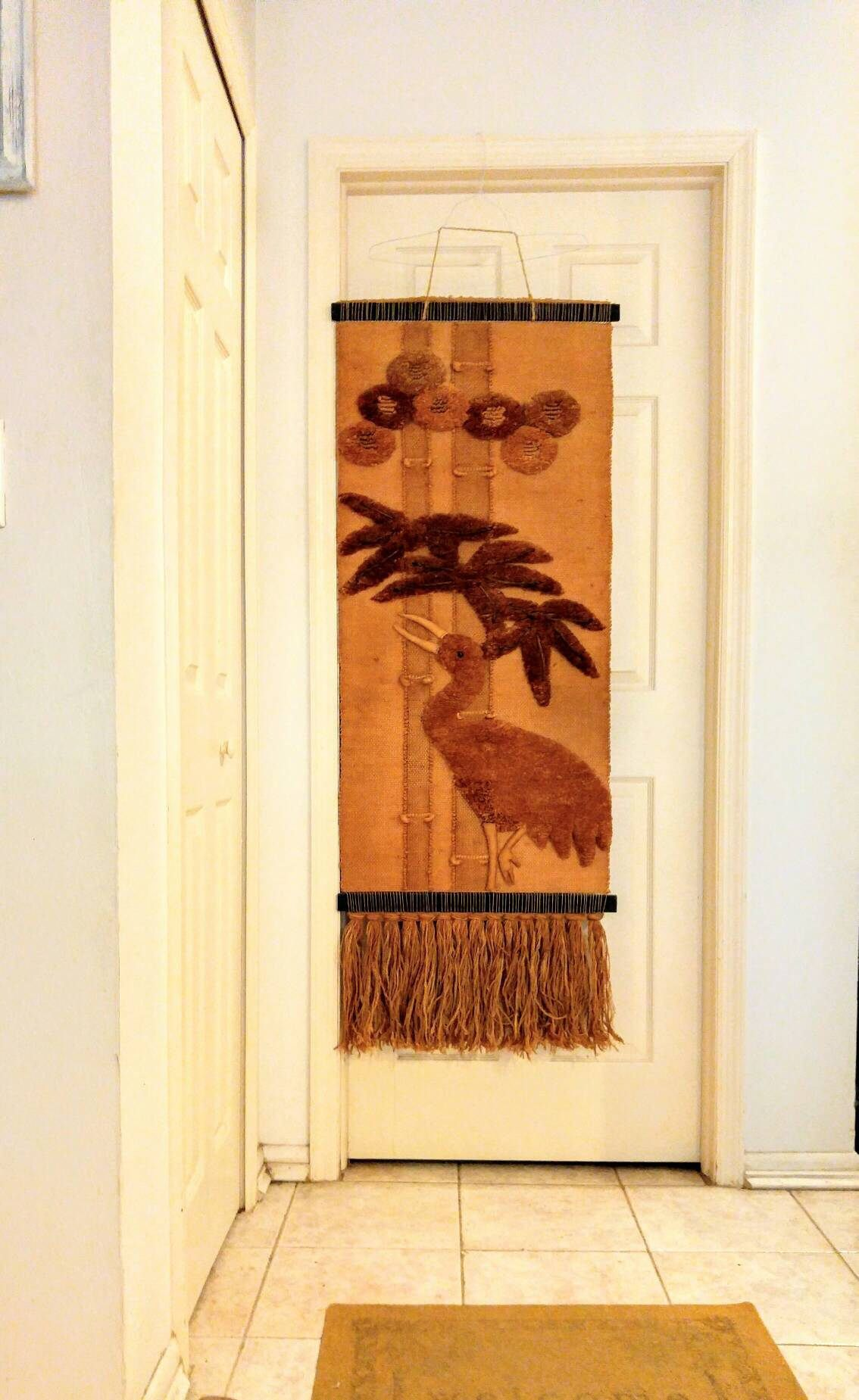 Woven Textile Asian Tapestry Don Freedman Style Wall Hanging Crane ...