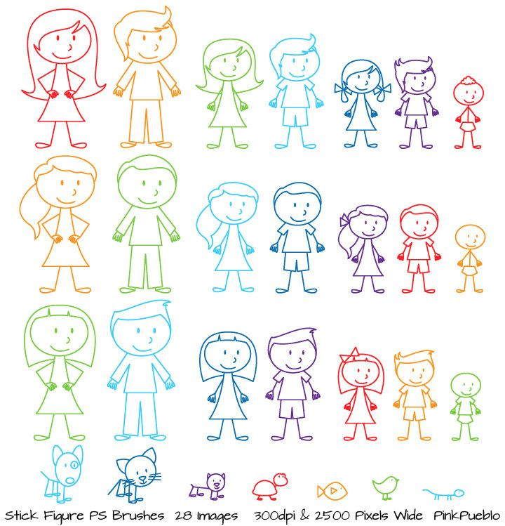 Stick Figures Photoshop Brushes, Stick People, Family and Pets Brushes - Commercial and Personal Use. $8.00, via Etsy.