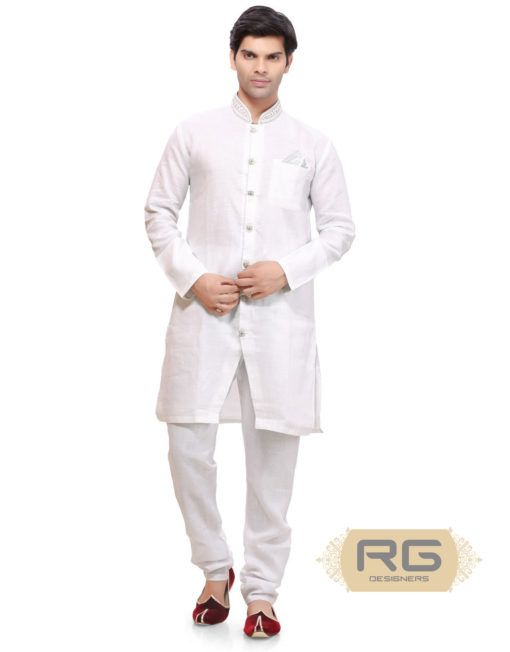 ed28c8b876 Royal White Pathani Kurta || The royal white colour linen kurta is a piece  of fine craftsmanship. The beautiful stone work around the neckline  enhanced with ...