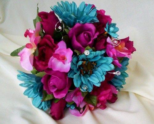 Bridal Bouquet Turquoise Hot Pink Cruise Weddings Destination