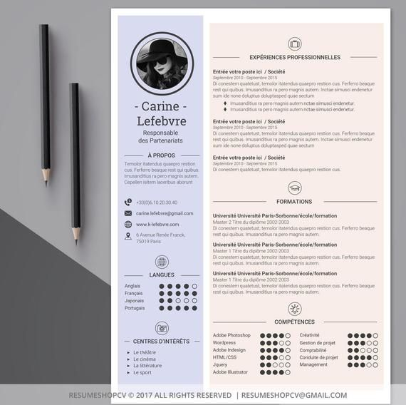 4 cv    professional resume  modern and graphic   4 letters