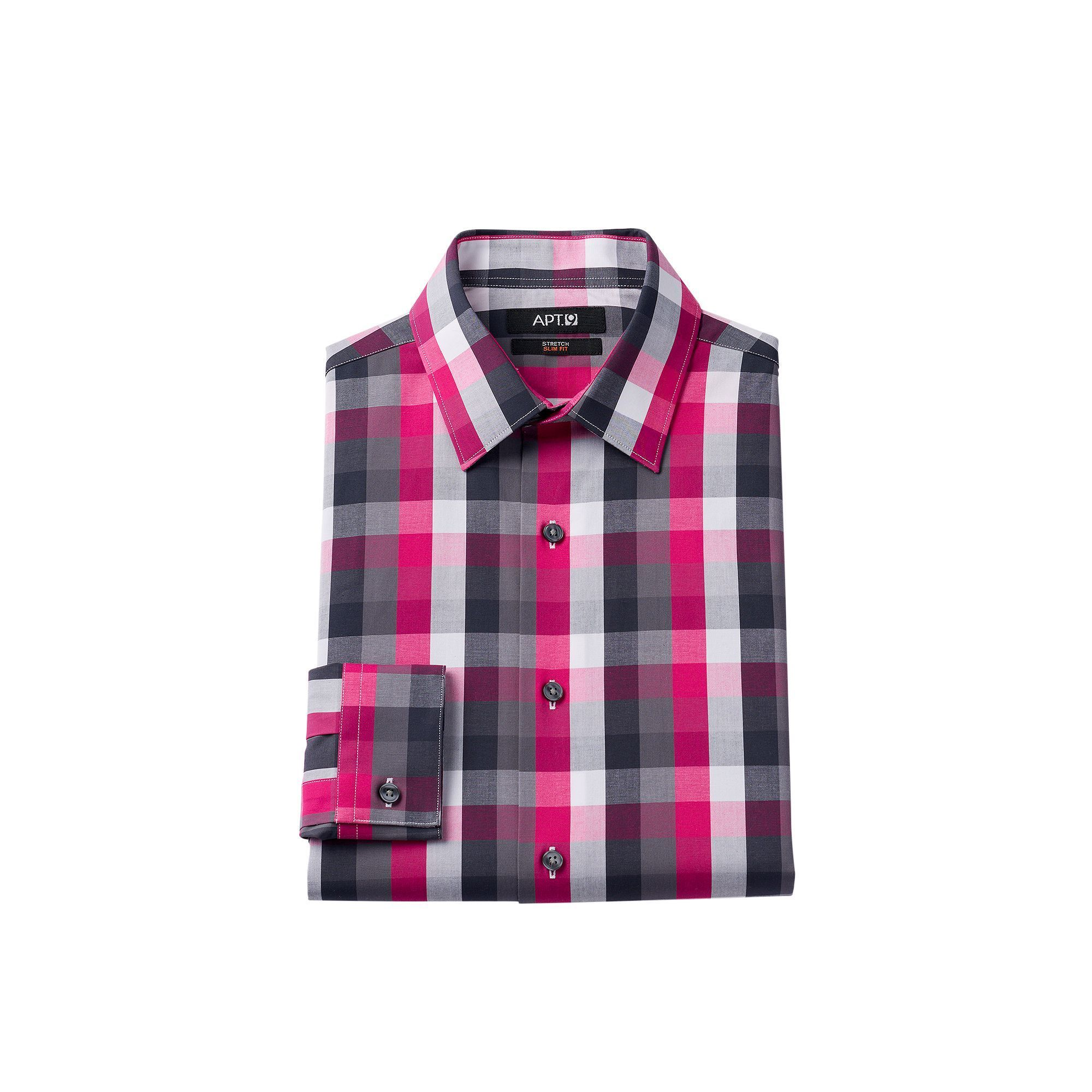 Men's Apt. 9 ® Slim-Fit Plaid Stretch Dress Shirt, Size: 17-32/33 ...