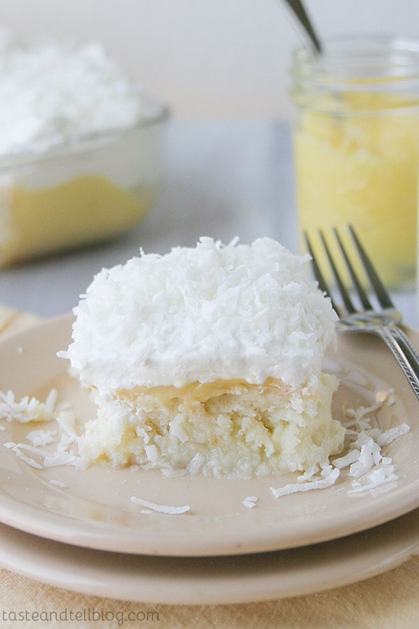 This Coconut and Lemon Poke Cake has cake soaked in a coconut milk mixture, then topped with lemon curd, whipped topping and coconut.
