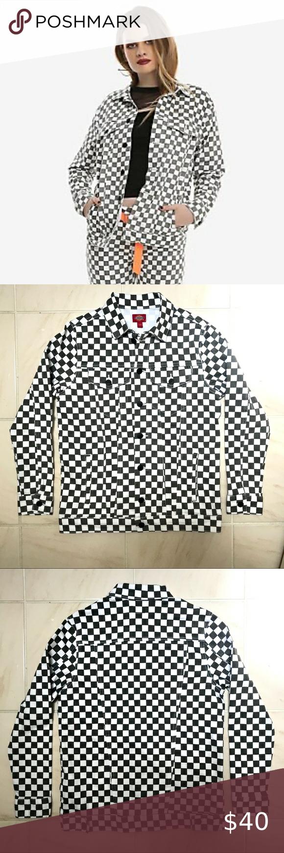 Dickies Gray Checker Denim Jacket Denim Jacket Clothes Design Jackets [ 1740 x 580 Pixel ]