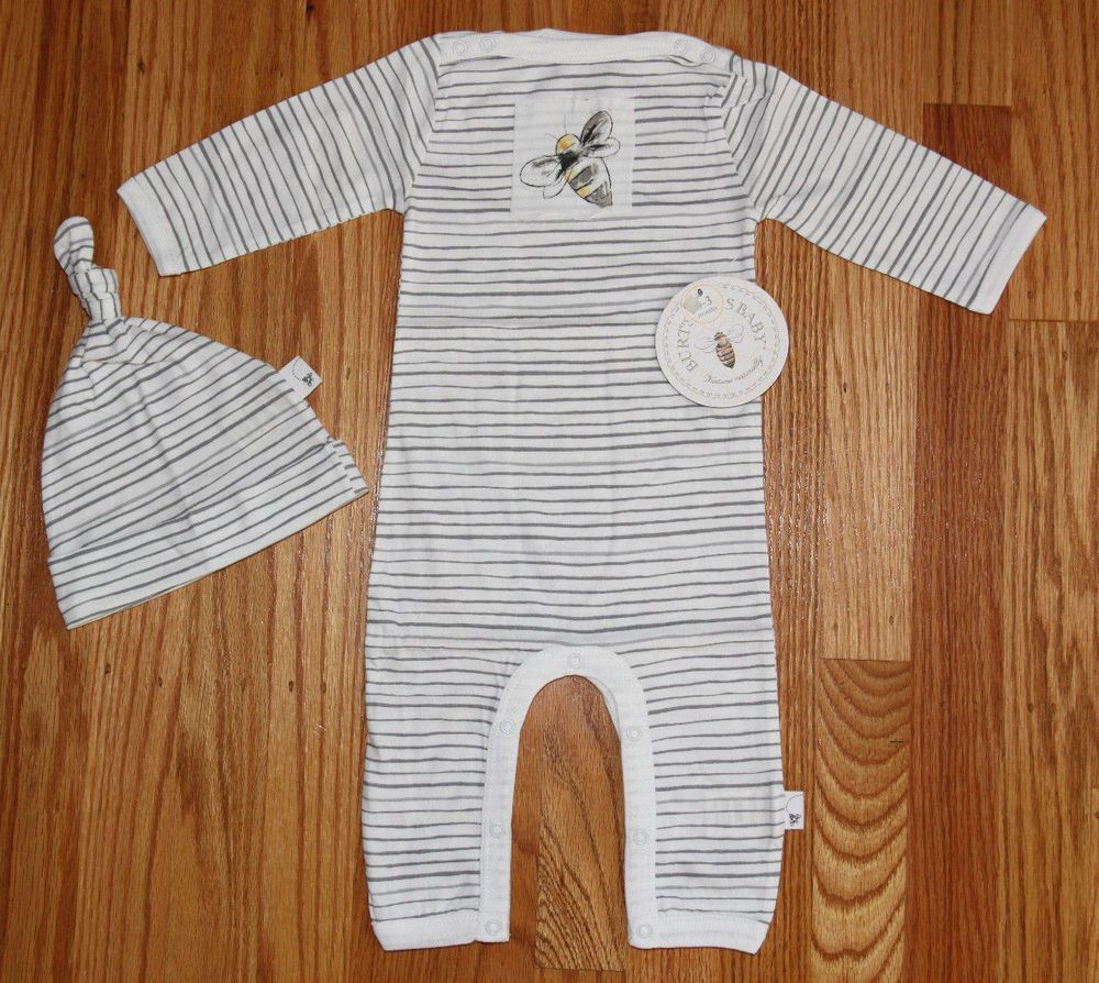 ac8c2e320dcd Burt s Bees Lightweight Baby Boy Coverall Sleeper   Knot Top Hat Set ...