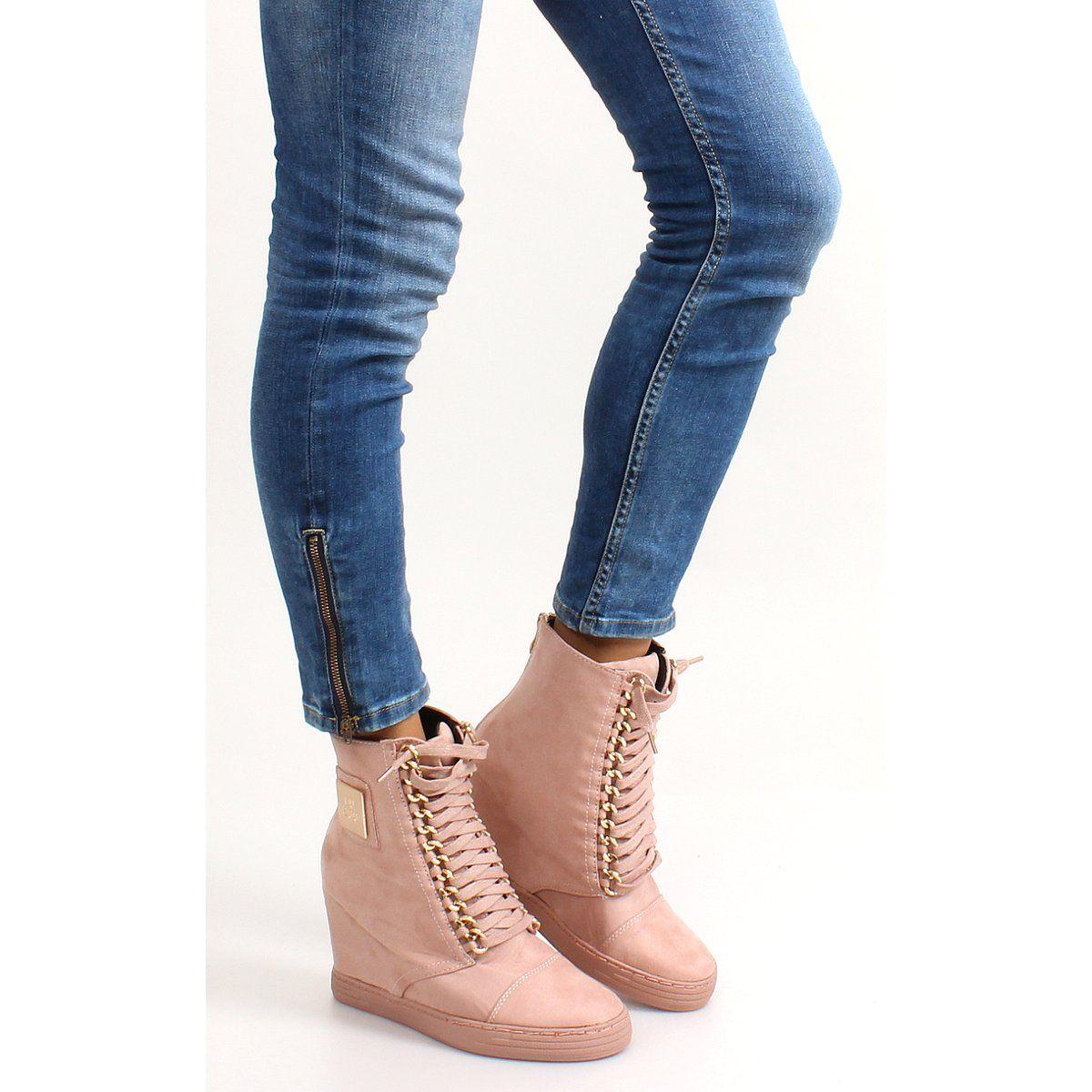 Sznurowane Sneakersy Z Blaszka B 2 Pink Rozowe Boots Timberland Boots Shoes