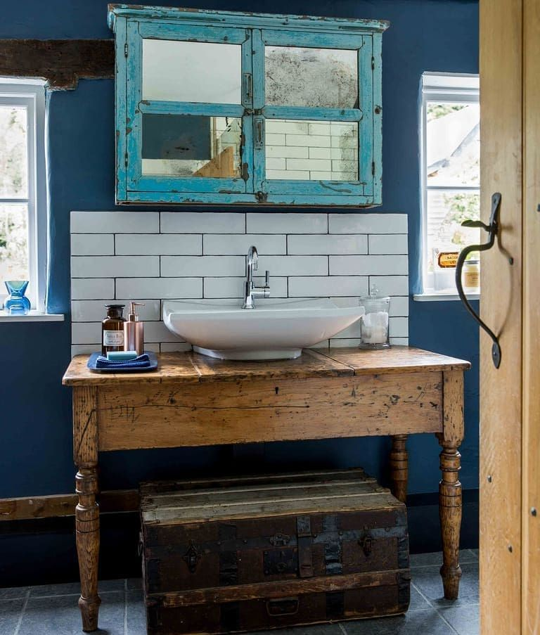 The Vanity Unit In This Rustic Bathroom Is Made Out Of A Vintage