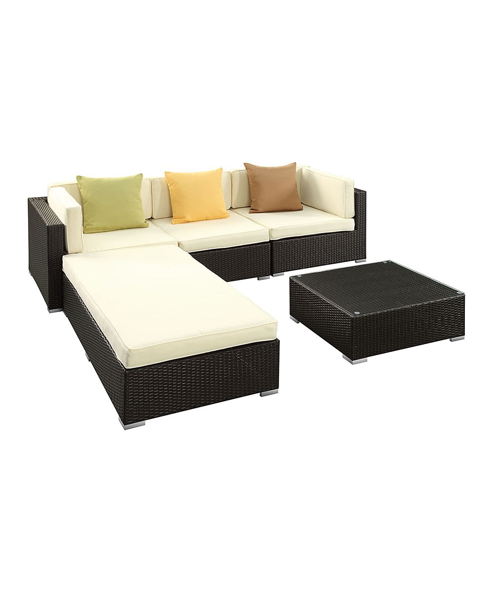 Espresso u white innovate fivepiece sofa set great for a patio or