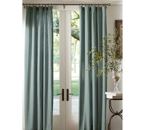 Emery Linen Drape | Pottery Barn  I Will Have These To Match Our White Linen