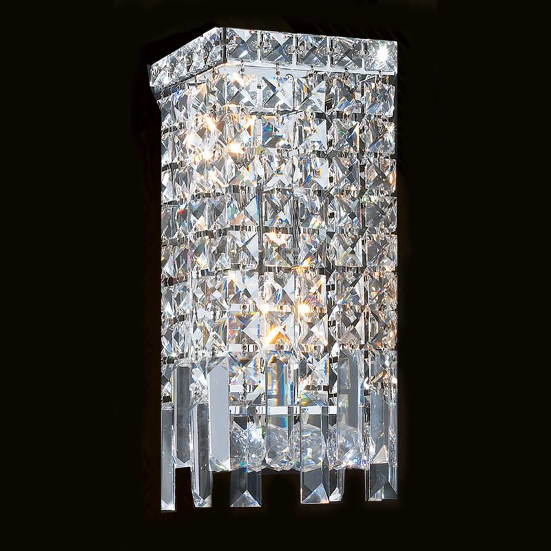 Worldwide Lighting W23621c6 Chrome Cascade 2 Light 6 Ada Wall Sconce In Chrome With Clear Crystals Crystal Wall Sconces Wall Sconces Crystal Wall
