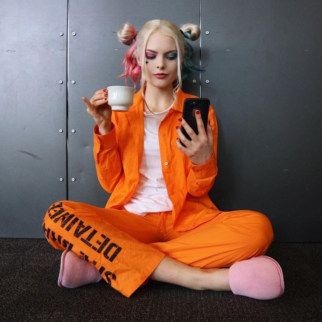 Womens Harley Quinn Style Orange Prisoner Costume