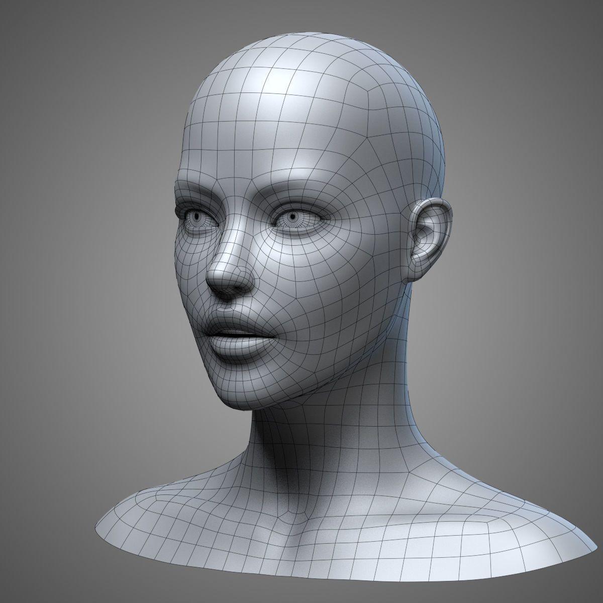 female head 3 3d model obj fbx stl blend mtl 11 Female