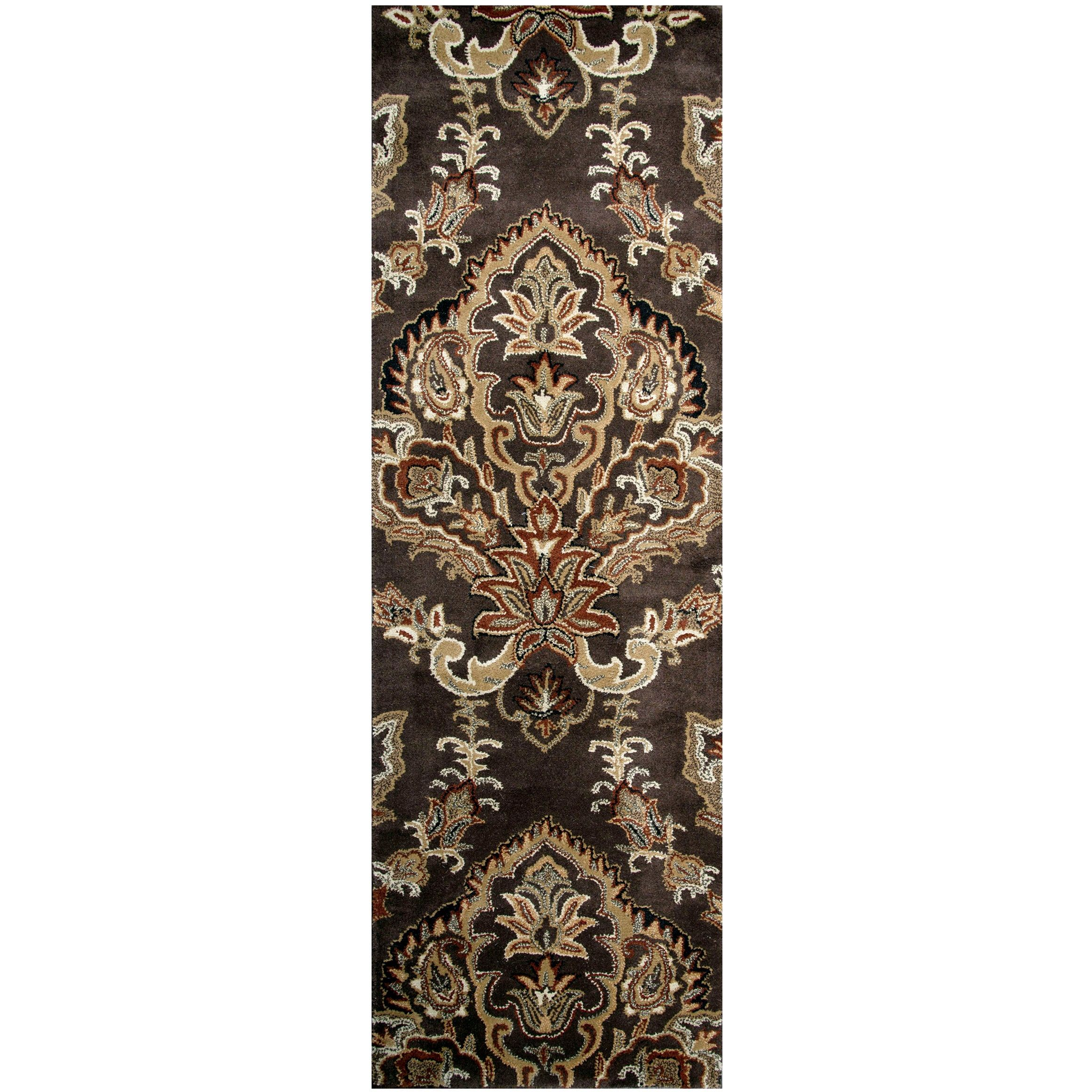 Hand Tufted Volare Brown Wool Ornamental Runner Area Rug 2 6 X 8