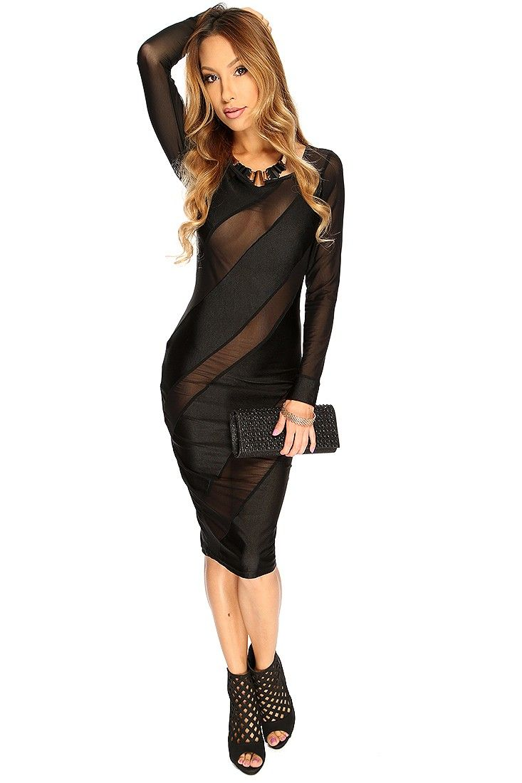 Black mesh cut out long sleeve mesh cut out sexy midi party dress