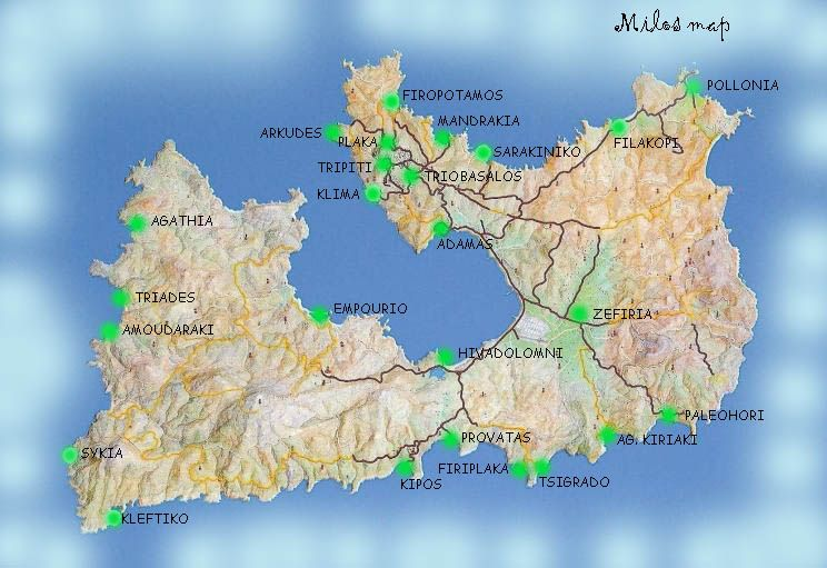 Milos Island map Greece ISLANDS Miles of Isles Pinterest