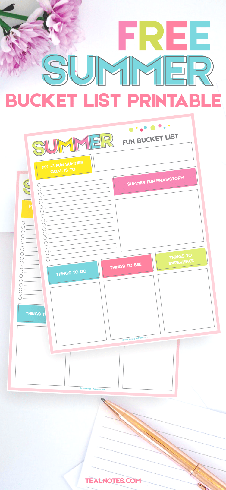 Summer Bucket List Printable Template To Organize Your ...