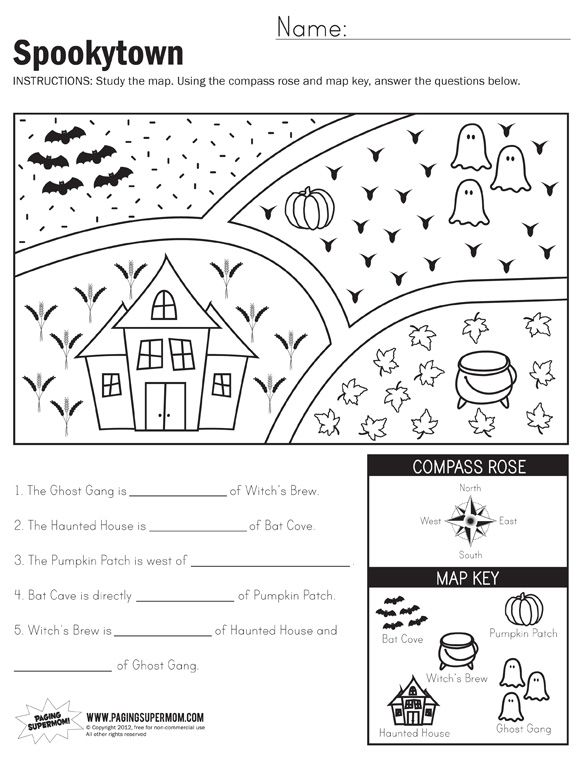 Spookytown Map Worksheet | First grade worksheets, Map ...