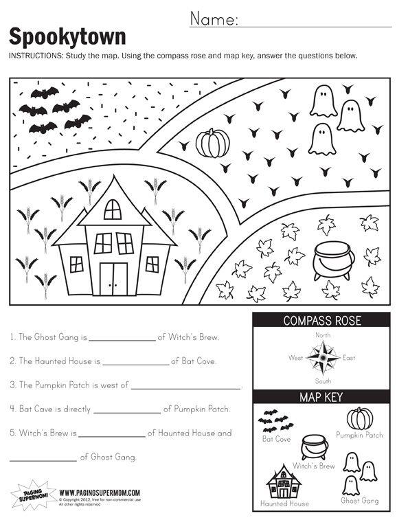 Spookytown Map Worksheet 1st Grade Worksheets 3rd