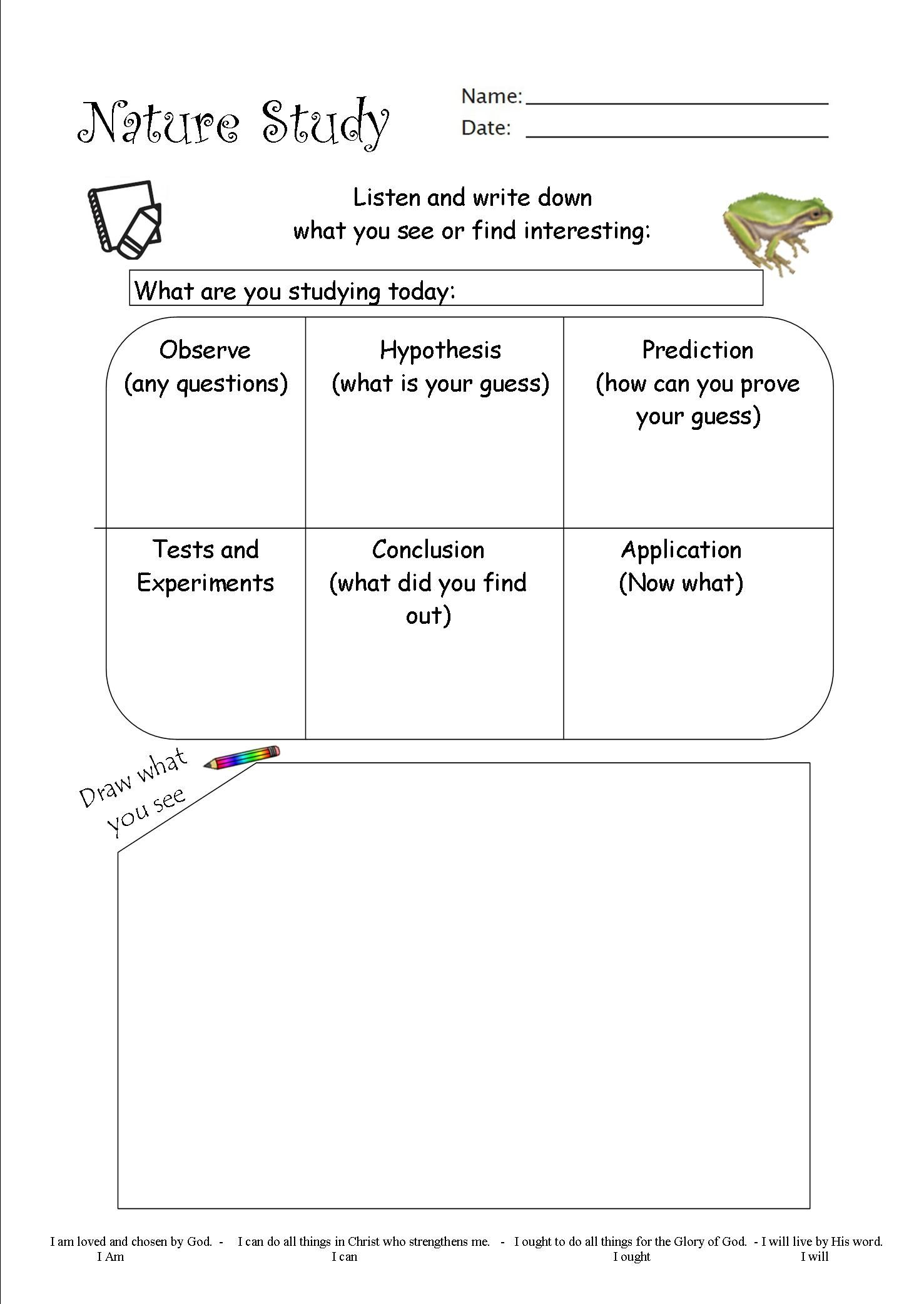 I Made This Nature Study Worksheet And Added In The