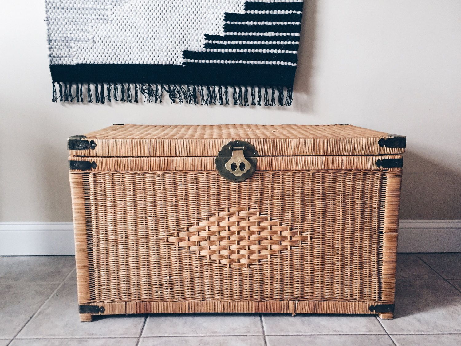 Captivating Vintage Wicker Trunk With Brass Hardware, Rattan Chest, Wicker Coffee  Table, Wicker Blanket