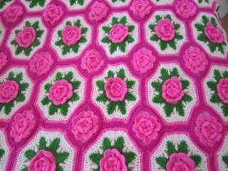 Vintage 70s rose crochet afghan handmade 3d roses flower vintage crochet afghan throw pattern rose flower motif in crafts needlecrafts yarn crocheting knitting dt1010fo