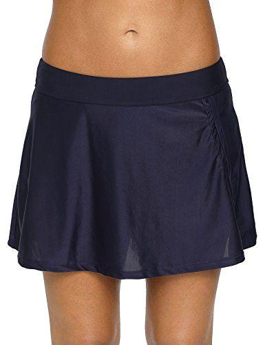 34edb8dbde1d4 belamo Women Swim Skirt Solid Color Waistband Bikini Bottom Resistant Skirt ,#Skirt, #