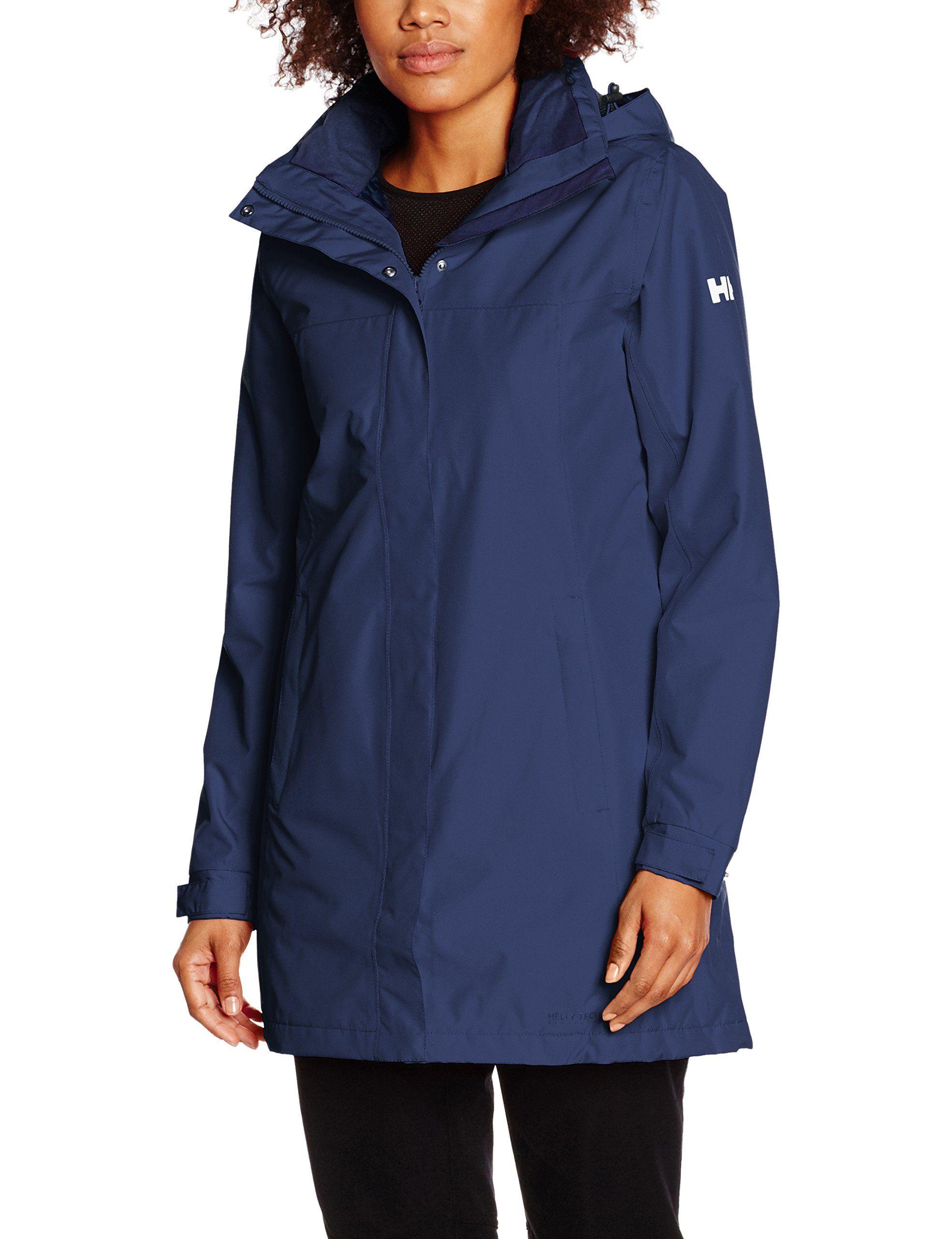 Helly Hansen Women S Aden Long Insulated Rain Jacket Evening Blue Large Hellytech Protection W Insulated Rain Jacket Raincoat Jacket Womens Fashion Jackets