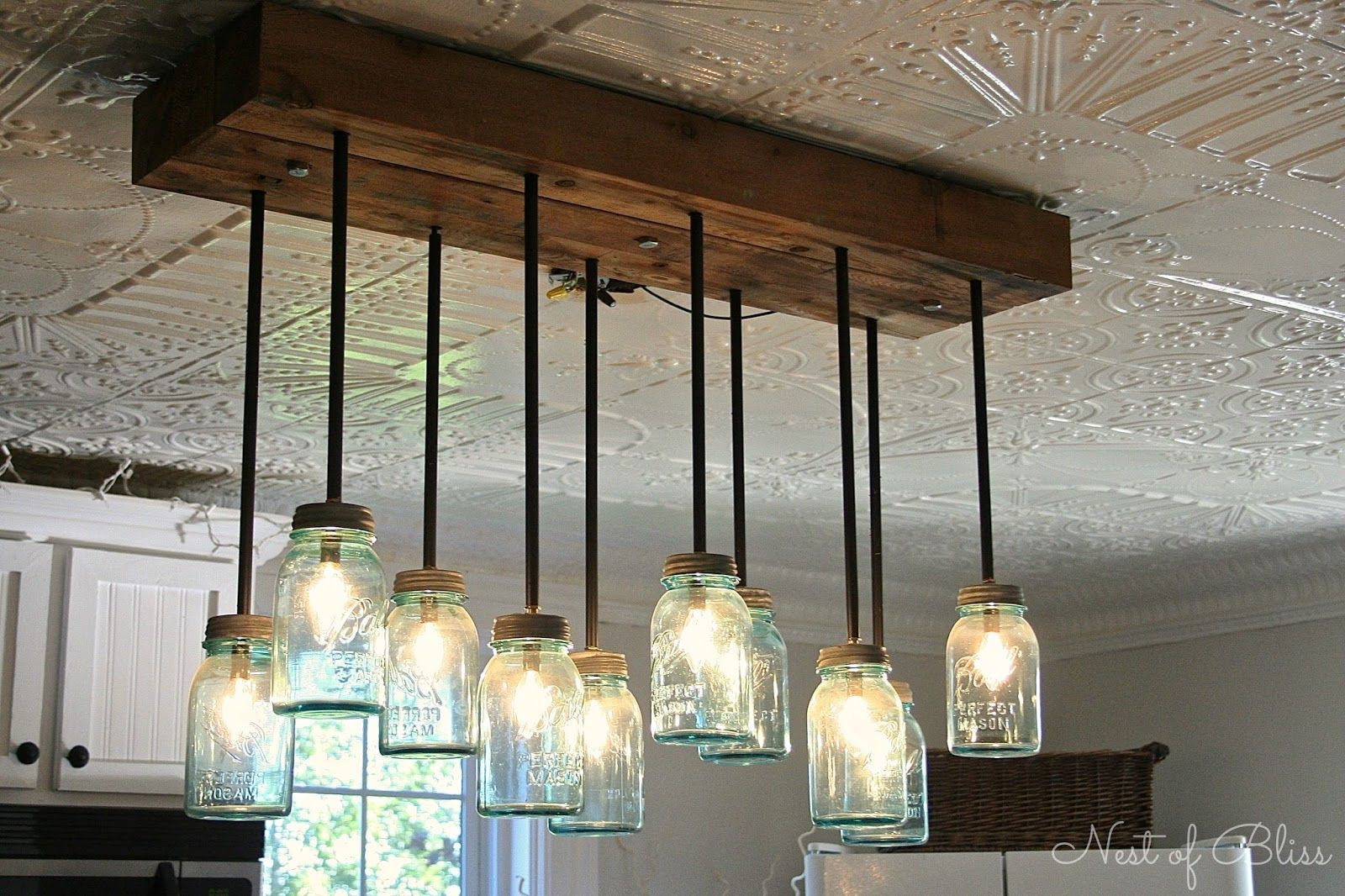 Farmhouse light fixtures kitchen renovation makeover progress mason ball jar light nest of bliss arubaitofo Image collections