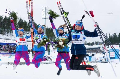 Ladies relay! 3. Finland (Saarinen - Niskanen - Mononen - Pärmäkoski)  Nordic World Ski Championships, Lahti, Finland, March 2017