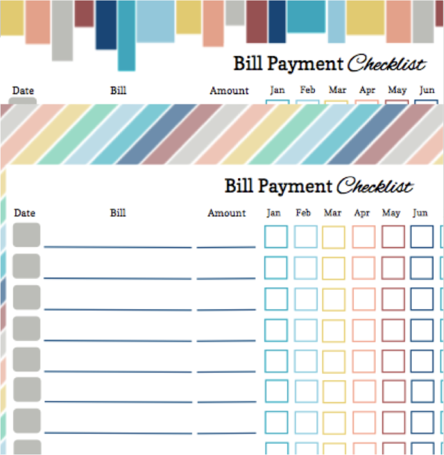 2017 Bill Payment Checklist Free Printable – Monthly Payment Template
