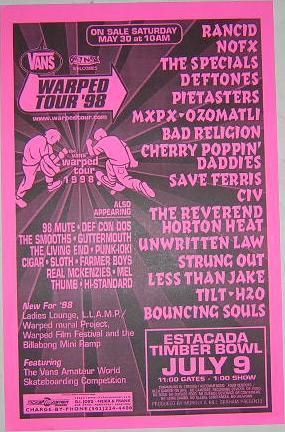 Warp Tour 98 Warped Tour Concert Posters Flyers Bands Ruffles Band