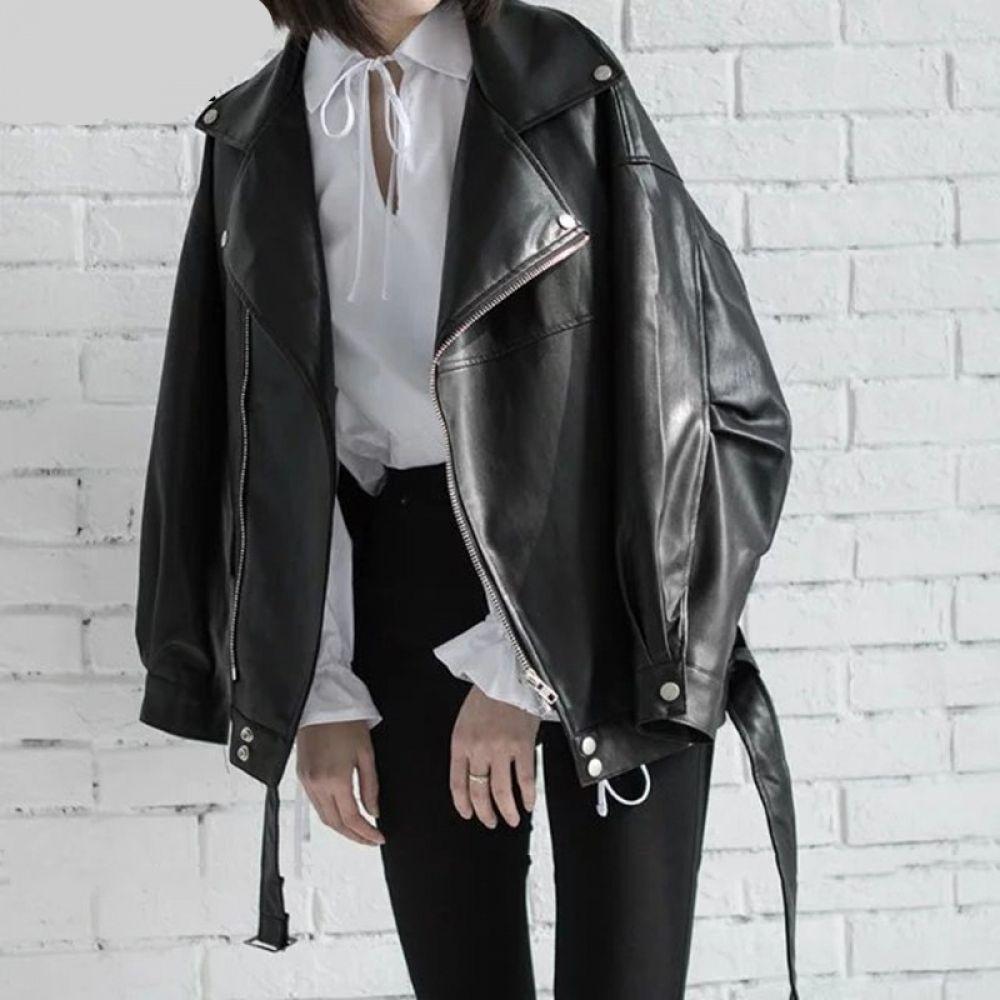 Vegan Leather Loose Turn Down Collar Jacket In 2020 Zippers Fashion Faux Leather Jackets Leather Jacket [ 1000 x 1000 Pixel ]