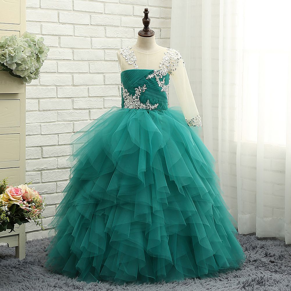 charming lace ruffled puffy flower girl dresses wedding gowns