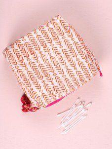 Aztec Print Wash Bags, Orange and Pink