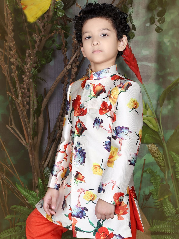 b209e0bcbd601 Cream Terry Rayon Printed Indo Western #Sherwani Kids Indian Wear, Kids  Ethnic Wear,