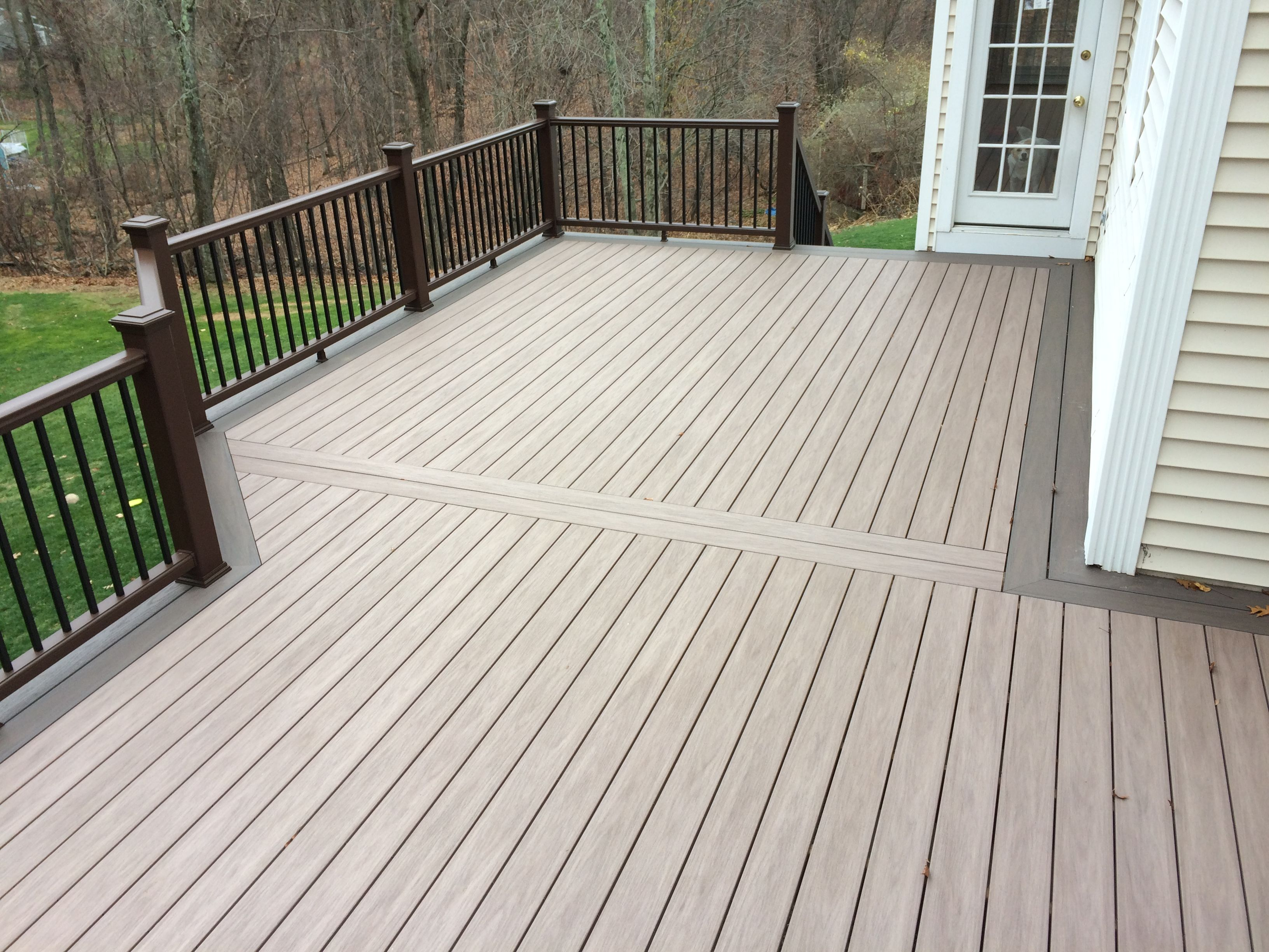 Beautiful wolf decking boards in weathered ipe were used for Composite decking planks