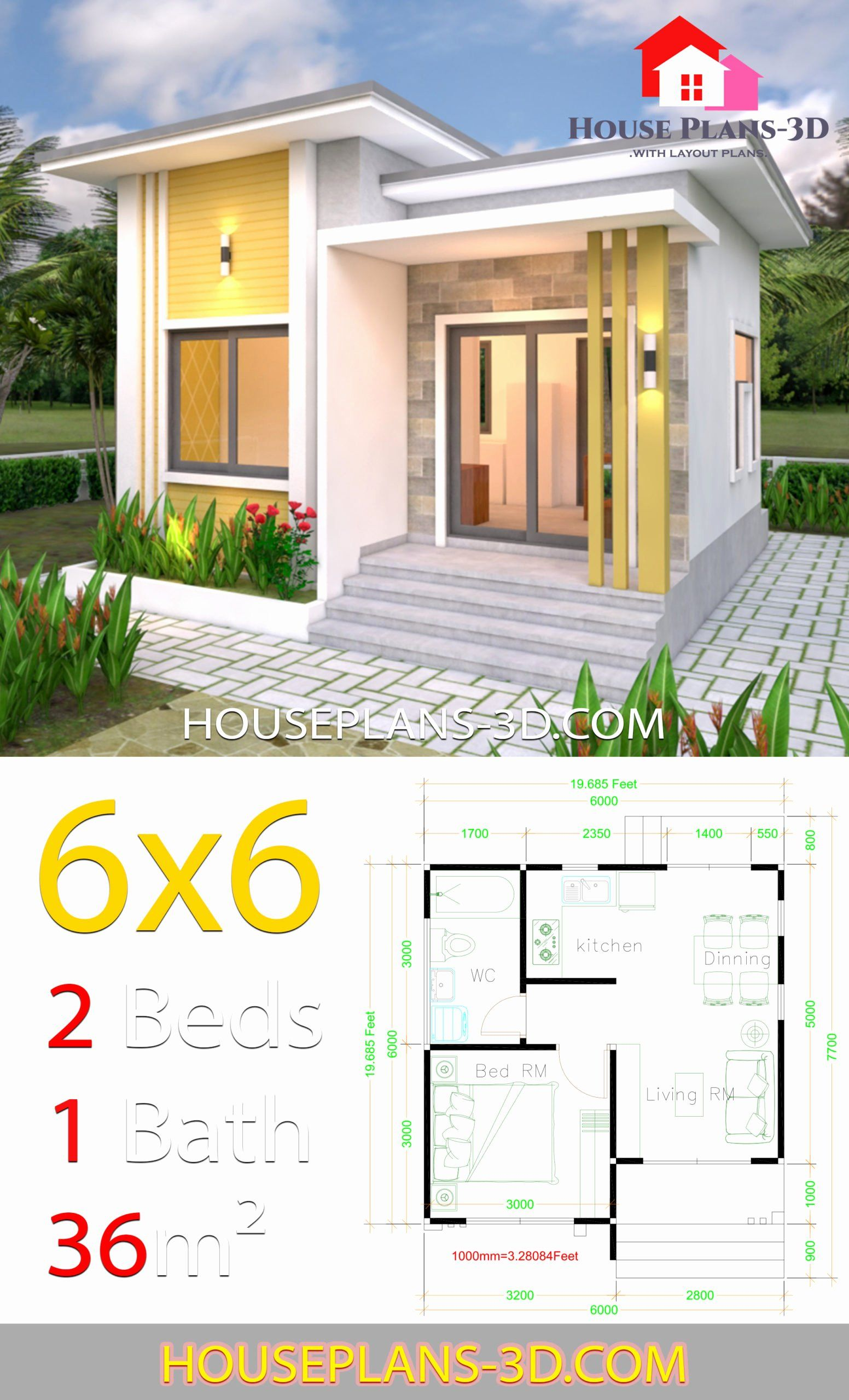 6 X 6 Bathroom Plans Elegant House Plans 6 6 With E Bedrooms Flat Roof House Plans 3d Tanjung Best In 2020 Small House Blueprints Flat Roof House House Plans