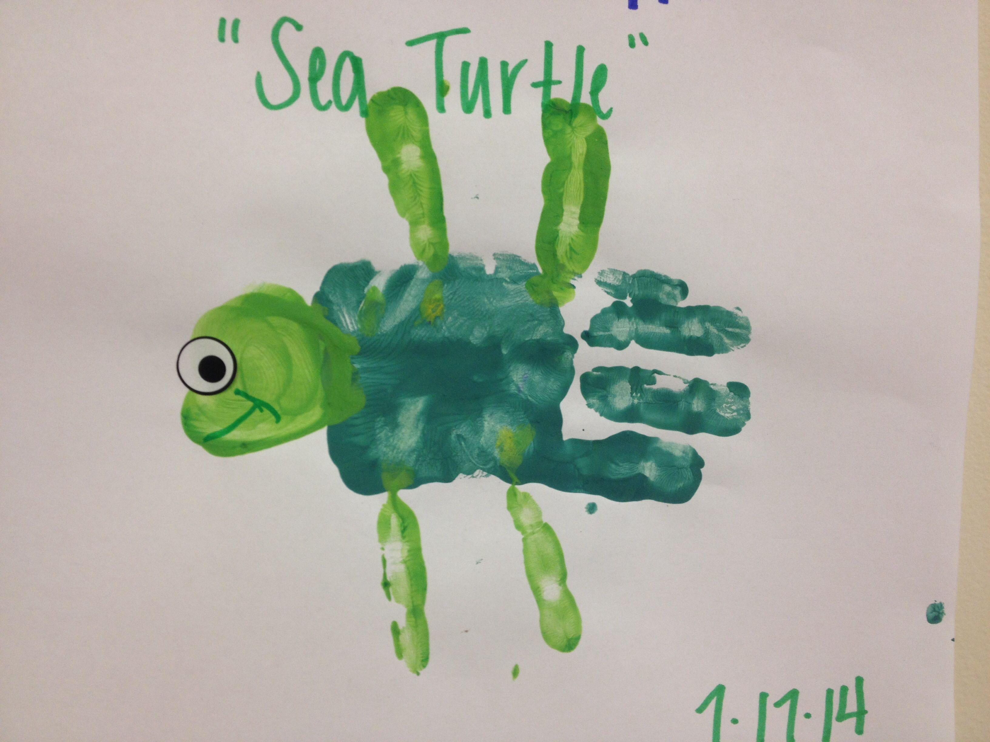 Handprint sea turtle kids handprint footprint crafts for Turtle arts and crafts