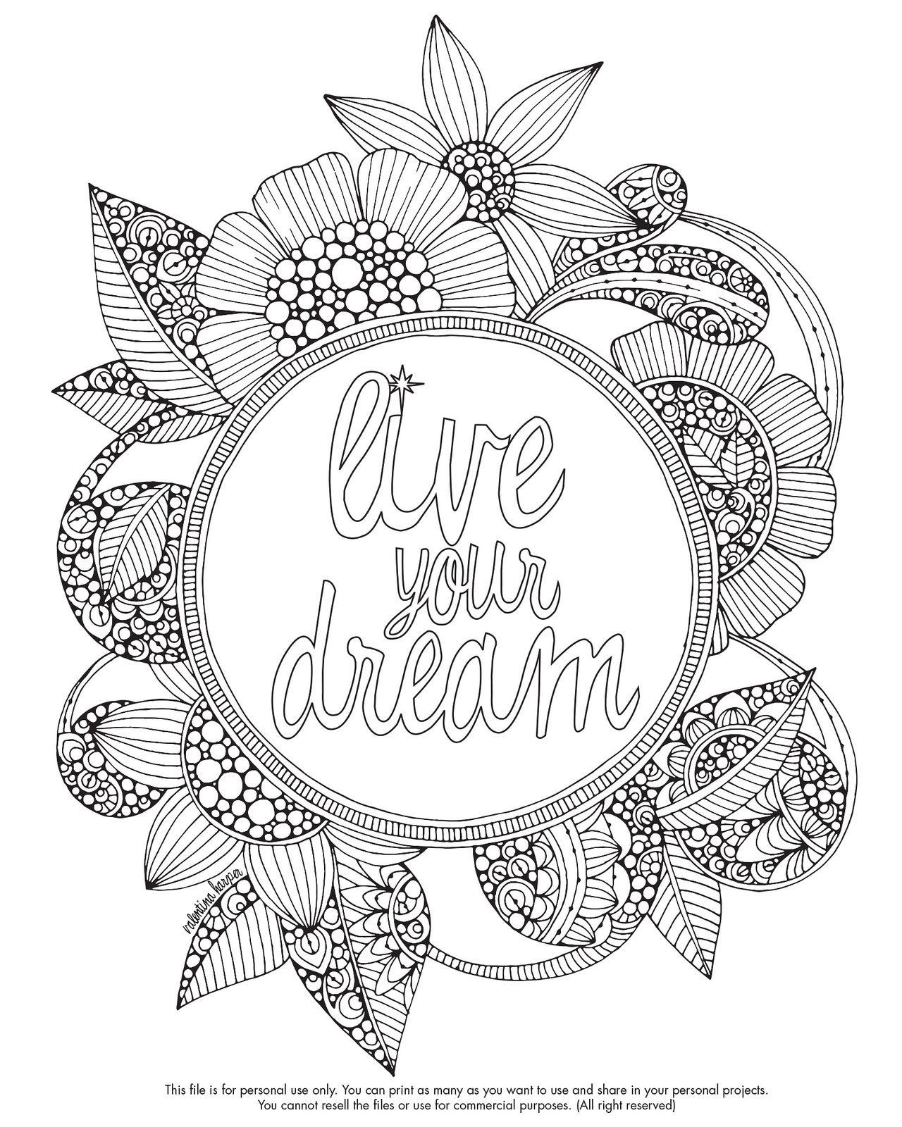 Live your dream! | Carátulas para cuadernos, Mandalas y Colorin