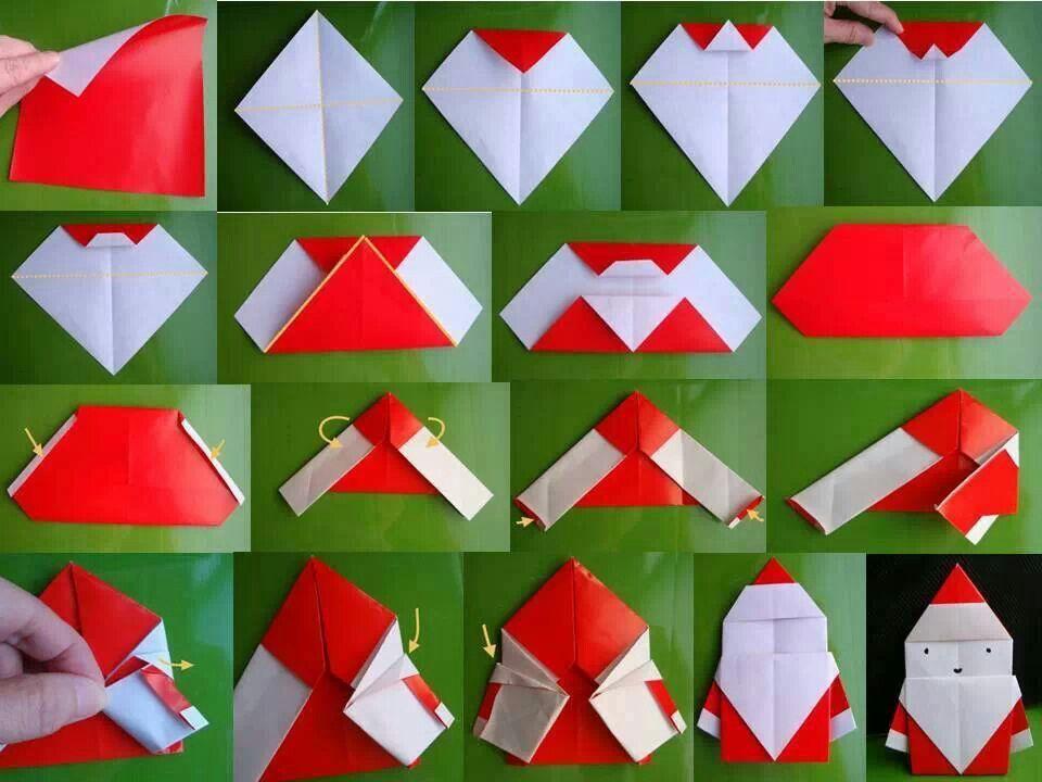Papa Noel Origami Origami Pinterest Papa Noel Origami And Noel - Origami-papa-noel