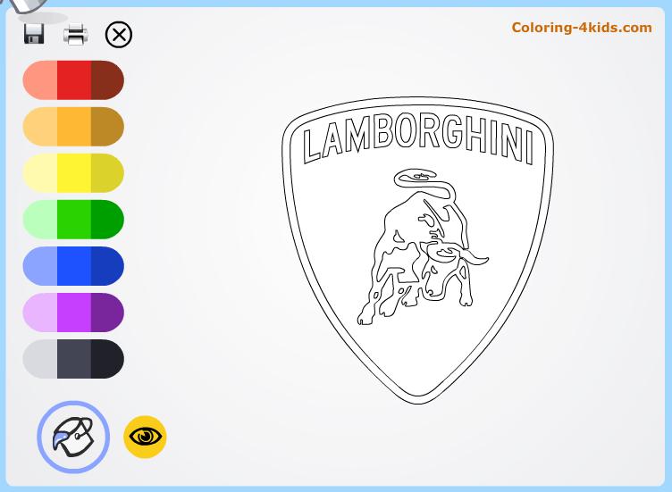 Lamborgini Logo Coloring Pages Online Cars Logos
